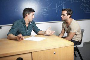 Diskussion mit Professor